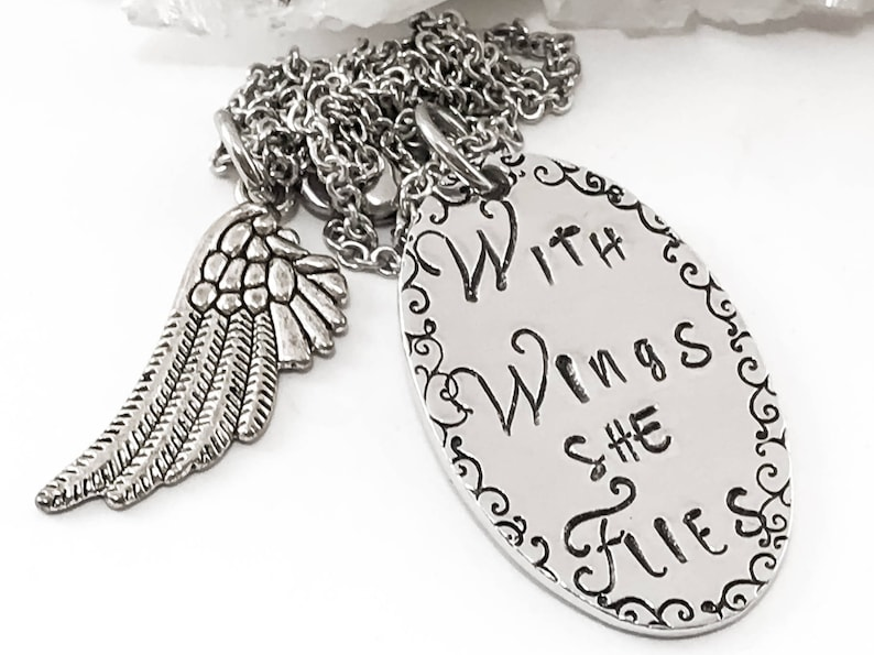In Loving Memory Of Mom Bereavement Necklace With Silver Wing With Brave Wings She Flies Memorial Necklace