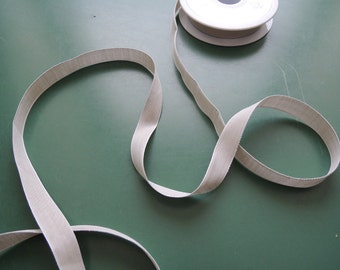 Cotton Tape | Chambray Gros Grain | Cotton | 15 mm 5/8'' | light grey/white | apricot