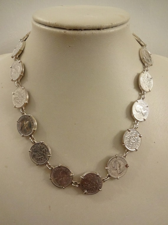 Vintage Silver Sixpence Necklace, Coin Necklace, E