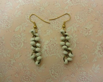 White Earrings, Summer Earrings, White Bead Earrings, White Dangle Earrings, White Drop Earrings