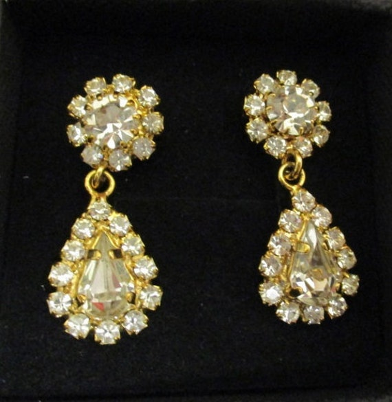 Vintage Diamante Earrings, Diamante Gold Tone Pear
