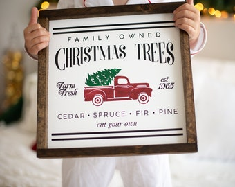 Red Truck Farmhouse Christmas Wood Sign Rustic Farmhouse Etsy