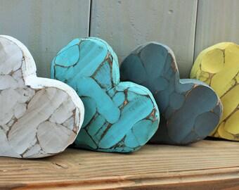 chunky wooden heart - chunky heart - rustic decor - chunky decor - shelf sitter - shelf sitter wood - rustic heart decor - primitive heart