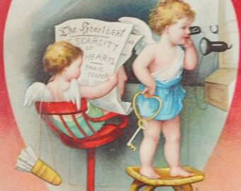 Valentine Postcard Ellen Clapsaddle Cupid on Phone Cupid Reading Newspaper
