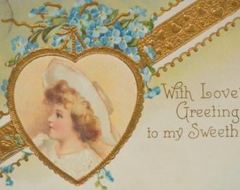 Valentine Postcard Ellen Clapsaddle Child In Gold Heart Series 841