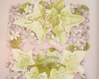 Edwardian Die Cut Calendar Framed Sweet Violets Advertising Yale Coffee 1903