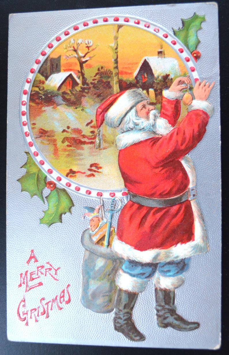 Christmas Postcard Santa Claus Red Robe Silver Embossed