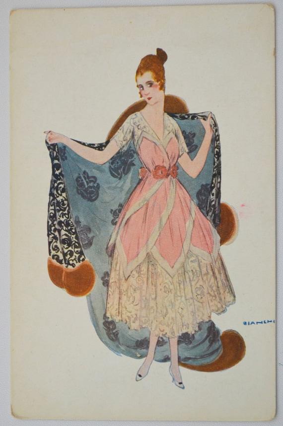 Artist Signed Bianchi Italian Glamour Lady Art Deco Postcard