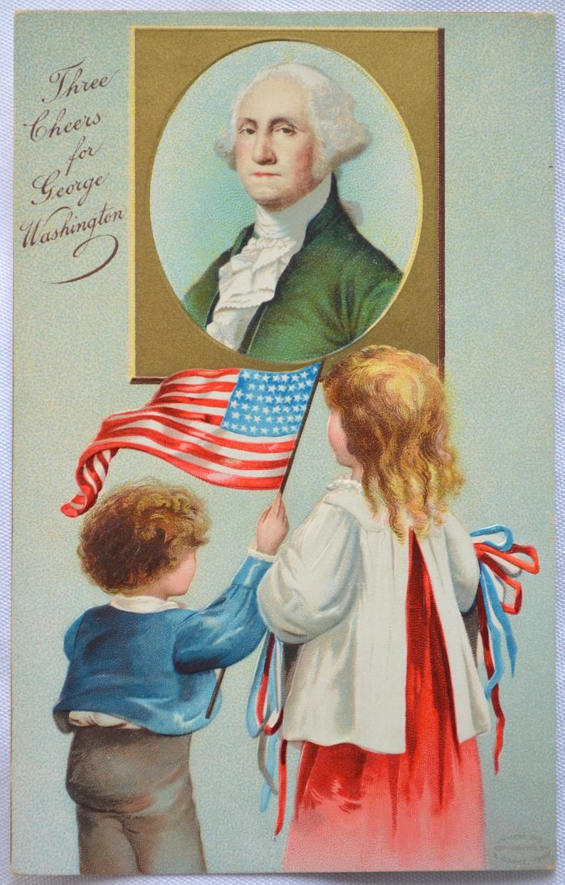Patriotic Postcard George Washington Birthday Children with American Flag