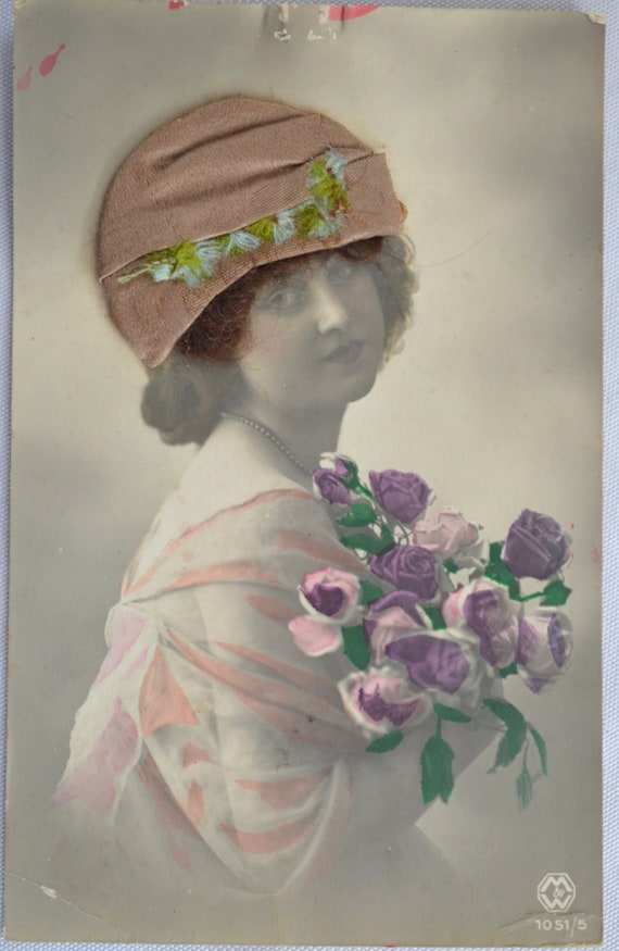 Real Hair Postcard Silk Hat Real Photo Image Art Nouveau Girl Card White Hat RPPC Card