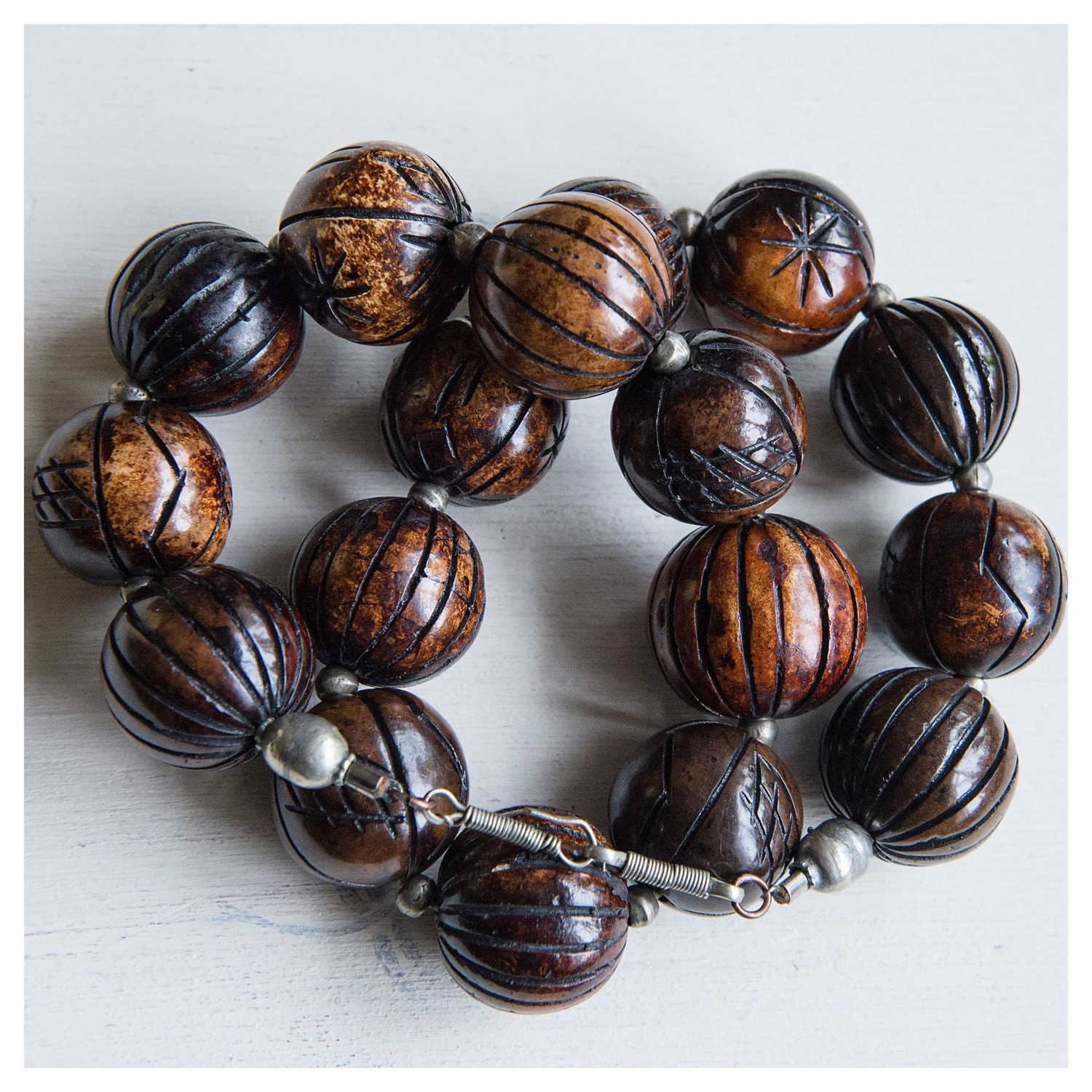 hippie boho vintage unique Christmas gift piece Wooden and agate beaded necklace and crafted metal