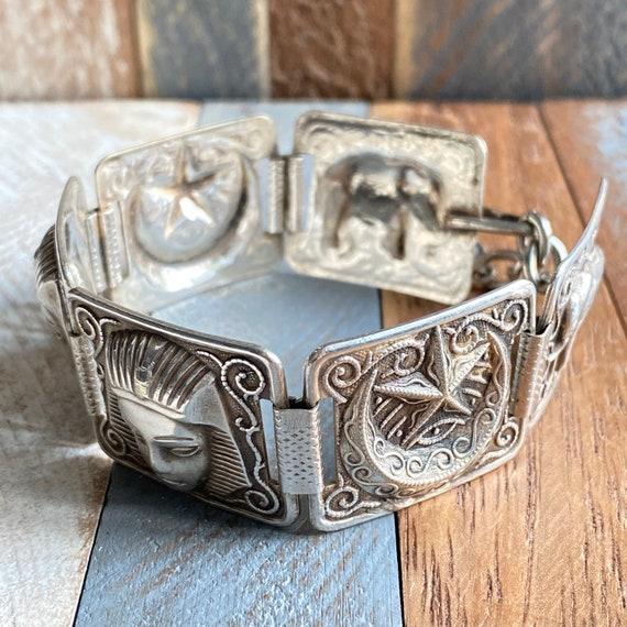Vintage Sterling Silver Arabic Egyptian Bracelet