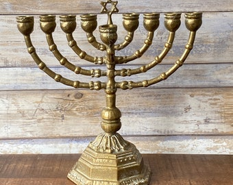 Vintage Judaica Large Heavy Brass Menorah Jewish Traditional Religious