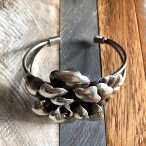 Vintage Silver Toned Carved Disc and Leather Strings Cuff Bracelet
