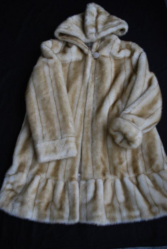 VINTAGE  1980's fake fur coat with hood