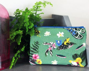 Pretty Poison Frogs Coin Purse, Original Illustrated Kat Print, Tropical Rainforest and Jungle Plants, Dart Frogs, Water Lilies and Orchids