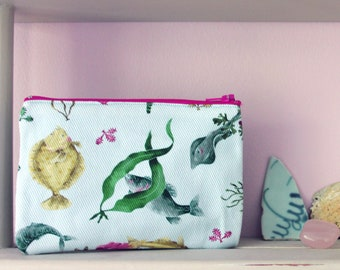 The British Seaside Coin Purse With a Fish And Seaweed Design, Original Illustrated Kat Print, a Perfect Small Gift