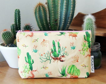 Dreamy Desert Makeup Bag With Cactus Plants, Scorpion and Beetle, An Original Illustrated Kat Design, A Lovely Handmade Gift