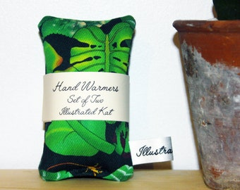 Reusable Tropical Leaves Hand Warmers, a Set of Two Mini Microwavable Fabric Wheat Bags With a Jungle Botanical Print, a Perfect Gift
