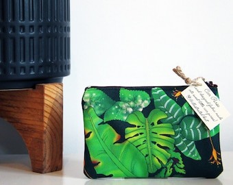 Tropical Large Leaves Coin Purse with a Monstera Plant Jungle Print