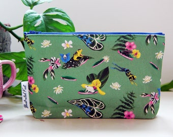 Pretty Poison Frogs Makeup Bag, Tropical Rainforest and Jungle Plants, Dart Frogs, Water Lilies and Orchids, a Lovely Handmade Gift