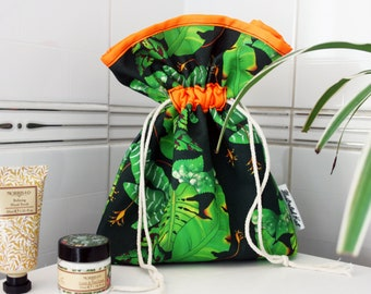 Tropical Large Leaves Drawstring Toiletry Bag, Perfect for a Travel Wash Bag or Accessories Pouch, With a Jungle Monstera Print