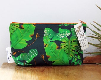 Tropical Large Leaves Makeup Bag With a Monstera and Bird of Paradise Jungle Print, a Unique Handmade Gift For Women