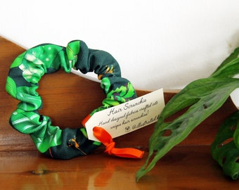 Large Leaves Hair Scrunchie With a Monstera Jungle Print, a Handmade Gift For Women