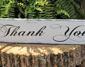 Thank You  Sign - Rustic Wedding -  Wood Sign Rustic Wedding Decor -  Wedding Photo Prop -  Card and Gift Table -Thank You Sign