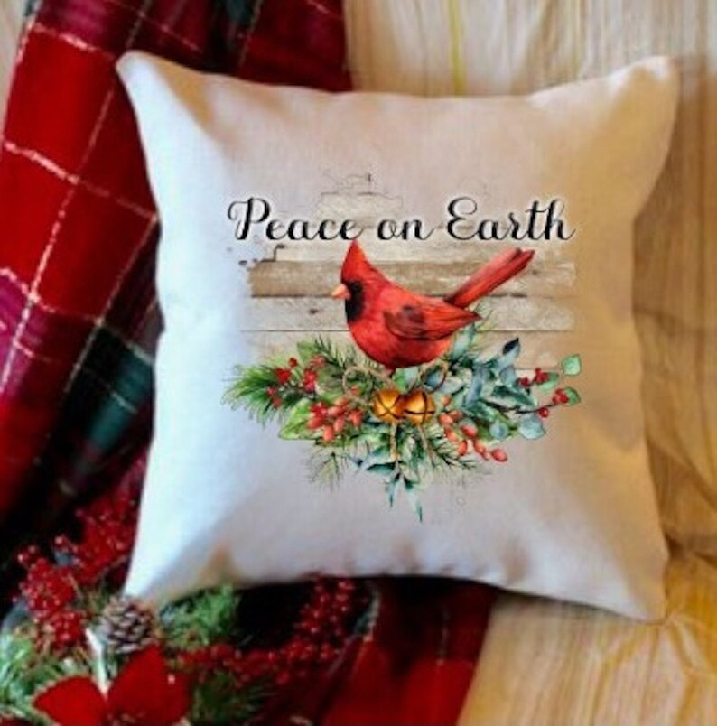 Red Christmas Cardinal Decorative Throw Pillow Peace On Etsy
