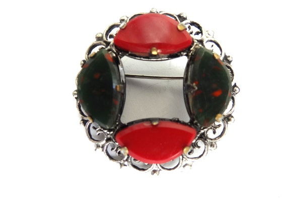 1970s Ruby Red Glass Pewter Celtic Scottish Thistle Brooch Pin Vintage