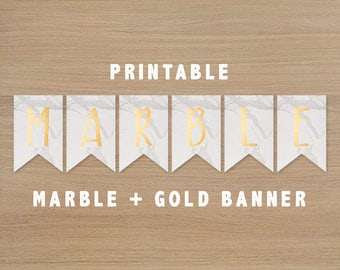 Just Married Bunting Large 2.5m Wedding White Gold Scripted Marble