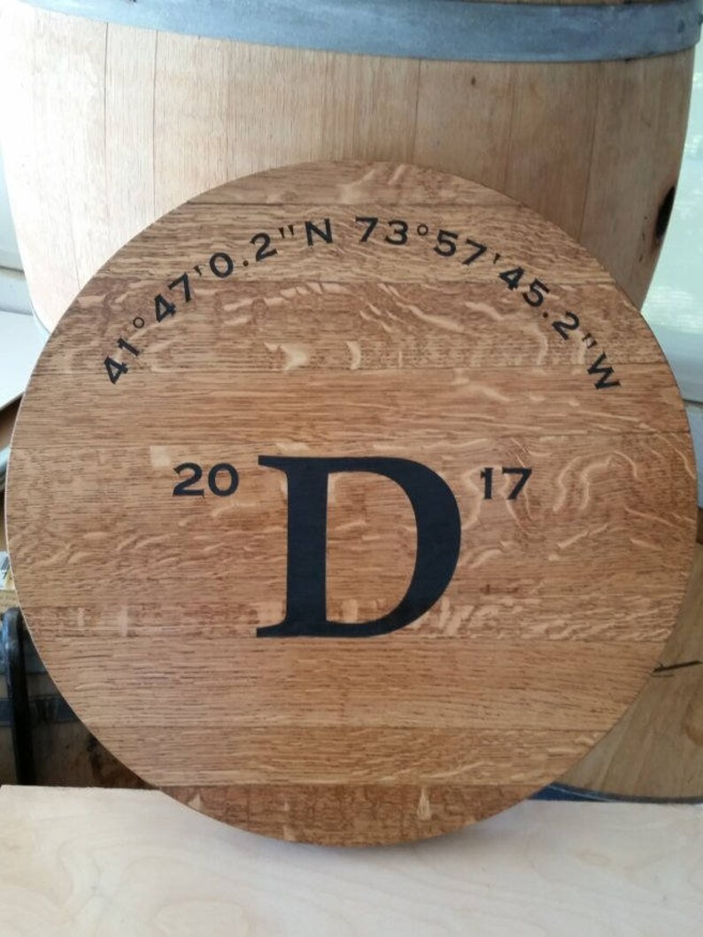 Engraved Lazy Susan Personalized Wine Barrel Head Patio image 0
