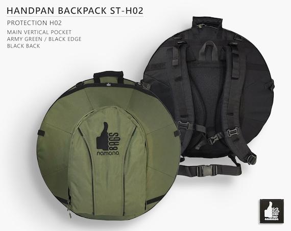 sturdy high-quality protective safe handpan bag hang rucksack drum bag army green dense padding case handpan backpack no pocket