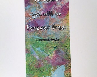 Mixed Media Print Bookmark | Frederick Douglas quote | Butterfly motif bookmark | Printable art bookmark