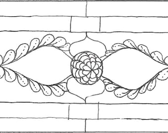 Stained Glass Window Zentangle Inspired Bookmark to Color