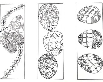 Easter Bookmarks to Color | Bibliophile Gift | Spring Bookmarks | Zentangle Bookmarks