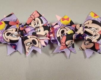 Minnie Mouse Purple Hair-Bow (Pair)