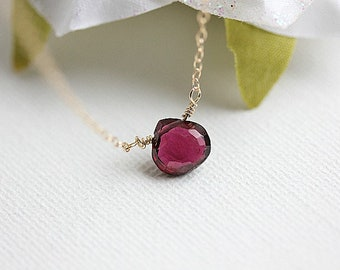 Gold Mozambique Garnet Necklace, Garnet Jewelry,Garnet faceted,January Birthstone, Red Garnet Necklace,Garnet Pendant, Gift for her,Deep red