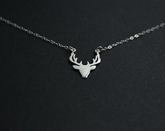 Silver Stag Head Pendant Necklace, Deer Head Necklace, Sterling Silver Antler, Deer Antlers, Love You Deerly, Gift for her