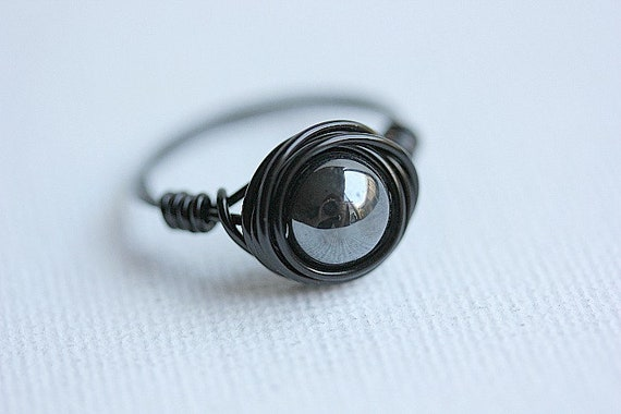 Hematite Ring Crystal Bead Handmade Wire Wrapped Silver Plated Color Changing Holographic Effect