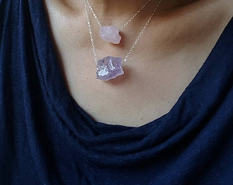 Healing Amethyst Necklace, February Birthstone, Raw Crystal Necklace, Rough Cut Amethyst Necklace, Raw Amethyst, Gift for her