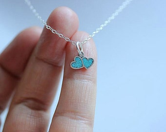 Tiny Double Heart necklace - Two Heart necklace  - Mother Daughter necklace - Love Necklace - Couples Necklace - Turquoise heart necklace