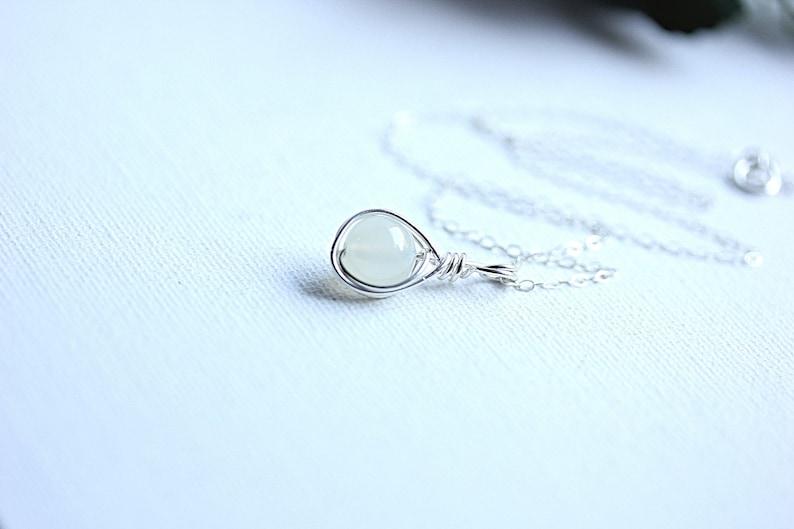Moonstone Silver June Birthday necklace Moonstone Jewelry Wire wrap moonstone pendant necklace White moonstone White Gemstone necklace