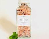 Grapefruit and mint Bath salts, Himalayan bath soak with essential oils and organic rose petals