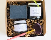 Birthday spa box, Charcoal Face Mask, Body Scrub and soap set