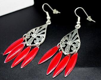 Sequin red Teardrops and silver pendants dangling earrings
