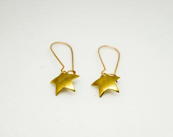 Star pendant Stud Earrings gold tone metal