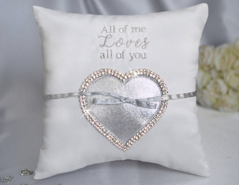 Heart Silver All Of Me Loves All of You Crystal Rhinestone image 0
