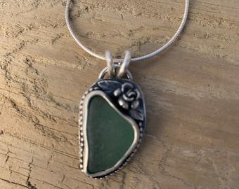 Genuine Teal Sea Glass Pendant
